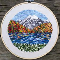 "Fall Mountain Embroidery Scene / Thread Painting / Group of Seven / Landscape / 8"" Embroidery Hoop by Crehetive on Etsy https://www.etsy.com/listing/510272324/fall-mountain-embroidery-scene-thread"