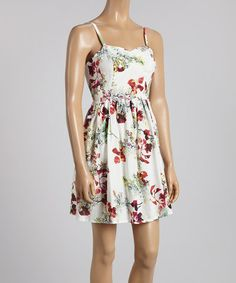 Another great find on #zulily! Off-White & Red Floral Sleeveless Dress #zulilyfinds