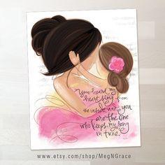 Sala Decor madre e hija oscuro y medio pelo morena por MegNGrace