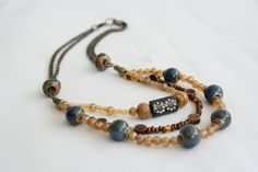 Beaded Necklace in Copper Tan Blue Team Etsy by PaintFabricWhimsy