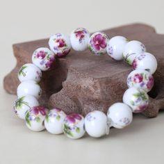 Pure Manual Ceramic Bracelets for Women Jingdezhen Jewelry Fashion Beads Female Bangles New Vintage Accessories