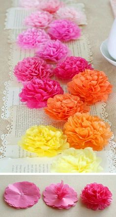 A Party for the Stars: Oscar Night Tissue Paper Flower Runner: Use around 8 sheets of tissue paper for each flower and punched all 8 layers at once. Staple together your stack of flowers inch size). Scrunch up your first flower layer to the center. Flower Crafts, Diy Flowers, Fabric Flowers, Papier Diy, Tissue Paper Flowers, Papel Tissue, Crepe Paper, Flower Tutorial, Flower Making