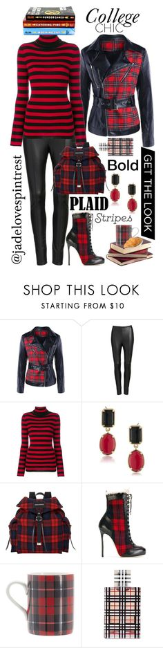 """Bold Plaid Stripes"" by jadelovespintrest ❤ liked on Polyvore featuring Lyssé Leggings, Laneus, Trilogy, 1st & Gorgeous by Carolee, Dsquared2, Pottery Barn and Burberry"