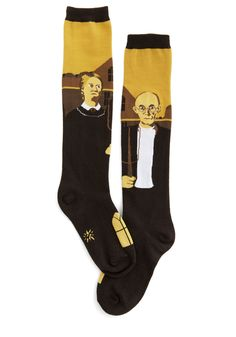 American Iconic Socks. These American Gothic socks are quite the artistic pair to add to your creative footwear collection! #brown #modcloth