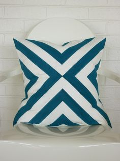 Blue Diagonal Print Pillow Cover- 20x20 throw pillow cover $38 AnnieRossDesigns on Etsy