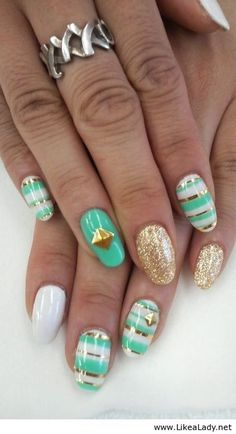 mint green + gold sparkles