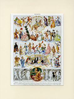 1933 Antique Carnival Print Mask Costume Folk Art Larousse Illustration french vintage, scrapbooking, home decor wall art Antique Prints, Vintage Prints, Vintage Posters, Fine Art Prints, Canvas Prints, Framed Prints, Pierrot Costume, Litho Print, Dress Up Outfits