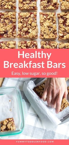 With wholesome ingredients and not a lot of added sugar, you can bake up Healthy Breakfast Bars to serve for breakfasts or snacks throughout the week. And they are SO good! This make-ahead breakfast for kids is easy, budget-friendly, and so yummy! Made with healthy oats these are great for after school snacks and perfect for school lunch too. #Snacks #HomemadeSnacks #EasyRecipes Oatmeal Breakfast Bars Healthy, Breakfast Ideas, Baby Breakfast, Breakfast Time, Healthy Meals For Kids, Kids Meals, Healthy Food, Baby Eating, Toddler Snacks