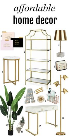 Affordable Home Decor Finds for a Minimalist Home Looking to freshen up you're living space? Here are items you'll love! This list includes artificial pants, office desk, shel Decor, Affordable Home Decor, Minimalist Home, Cheap Home Decor, White Gold Bedroom, Gold Office Decor, Trending Decor, Gold Bedroom, Home Office Chairs