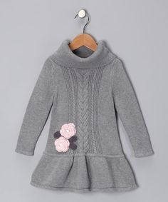 Take a look at this Gray Flower Cable-Knit Dress - Infant, Toddler & Girls by Marili Jean on #zulily today!