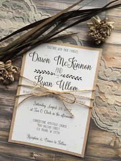 This rustic wedding invitation is ideal for any country,barn, vintage, rustic or garden wedding. My invitation suites are printed on your choice of 100lb matte white or ivory, 100lb white or ivory linen, or 105lb white or ivory shimmer cardstock, Kraft, or 100lb Ivory Speckled and can be customized to any color in our color chart. Please read entire listing for customization options, ordering instructions, pricing options, and add-ons. **This particular suite is printed on Speckled Ivory…