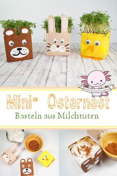 Easter basket tinker with children - A mini Easter basket made from a milk carton. The whole thing is super easy and quick to tinker and - Easter Crafts, Crafts For Kids, Children Crafts, Easter Baskets To Make, Kindergarten, Diy Recycle, Recycling, Upcycled Crafts, Happy Easter