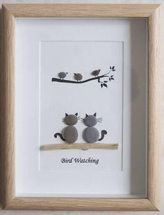 Pebble Art framed Picture Bird Watching