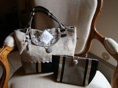 sac et pochette lin et noir