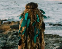 Handcrafted,headband,turquoise,hairband,hairdress,braids,natural brown,feathers headpiece,boho style,boho chic,gypsy,hippie,black