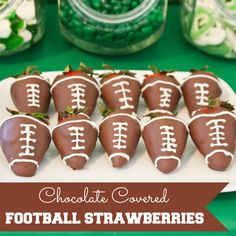 Chocolate Covered Football Strawberries #chocolate #football #strawberries