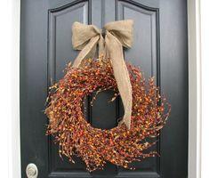 Thanksgiving Wreaths  Pumpkin Pie Berry Wreath by twoinspireyou