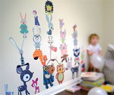 Free Shipping - Large Colorful Forest Animals Fabric Wall Art Decals for Kids Rooms - Unique Eco-friendly Fabric Wall Art Stickers for Nurse...