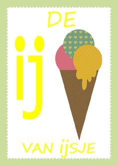 retro Alfabetposter  'De ij van ijsje'