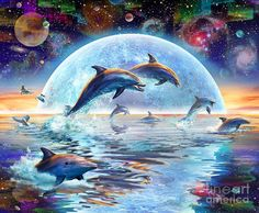 Dolphins By Moonlight Digital Art by Adrian Chesterman