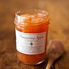 Honeycrisp Apple Conserve, a fall specialty Gourmet Gifts, Gourmet Recipes, Honeycrisp Apples, Fruit Preserves, Jar Gifts, Unique Recipes, Apple Recipes, Vegan Chocolate, Favorite Recipes