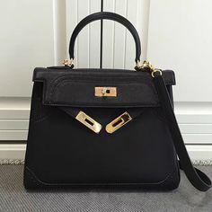 Kelly 28 Tote Bag in Black Swift Leather HK1220 Hermes Kelly Bag 5313a57853317