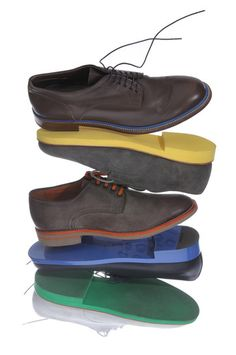 Rainbow Coalition by Bruce Pask: From the top: Dunhill Oxford, $520; Walk-Over suede buck, $225; Santoni Oxford, $630; Jil Sander Oxford, $795; Markk McNairy New Amsterdam white buck, $350. #Shoes #Men #Bruce_Pask