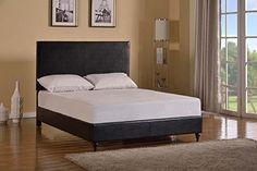 Home Life Black Leather Platform Bed with Slats Full - Complete Bed 5 Year Warranty Included //http://bestadjustablebed.us/product/home-life-black-leather-platform-bed-with-slats-full-complete-bed-5-year-warranty-included/