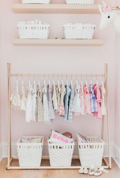 This sweet DIY pink and floral nursery from Monika Hibbs is chock full of design inspiration for your own home. Check out her adorable peachy pink closet with its organized clothing rack and basic she Baby Nursery Diy, Baby Bedroom, Nursery Room, Girl Nursery, Kids Bedroom, Nursery Decor, Floral Nursery, Bedroom Small, Bedroom Ideas