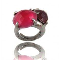 Sortija Piedras Plata/Rutenio/ Four Claws Two Round Stones Open Ring in Silver/Ruthenium 75€