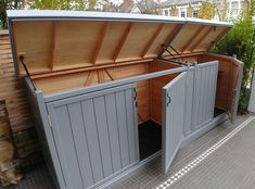 Wooden Bike Sheds Recycling Storage, Shed Storage, Storage Bins, Storage Ideas, Outdoor Bike Storage, Bicycle Storage, Victorian Front Garden, Backyard Landscaping, Backyard Ideas