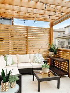 Boho Patio Furniture and DIY Pergola with Privacy Wall diy modern screen wall Patio Decor, Diy Pergola, Backyard Design, Outdoor Decor, Resin Patio Furniture, Patio Design, Backyard Furniture, Boho Patio, Small Backyard Design