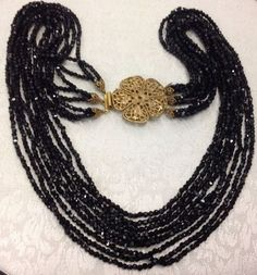 Idée et inspiration Bijoux :   Image   Description   Signed Original By Robert Multi Strand Vintage Black Bead Necklace    eBay