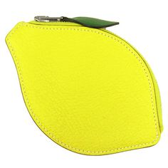 Auth-Hermes-Coin-Wallet-Purse-Case-Lemon-Yellow-Leather-Fruit-France-GR-1654370