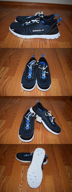 cc3f842e8ef6 Men 159144  New Mens Speedo Navy White Hybrid Watercross 360 Drainage  Aquatic Shoes Size 8