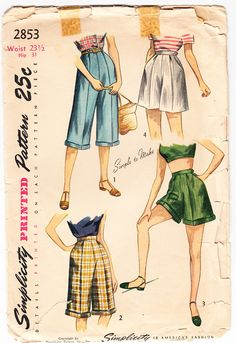 Simplicity 2853 ©1949 Pedal Pushers and Shorts