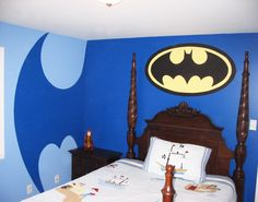 Batman Superhero Wall Murals for Kid Bedroom- I love our bat signal room but this is neat to!
