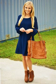 Share to save 10% on  your order instantly!  Sassy & Conservative Dress: Navy