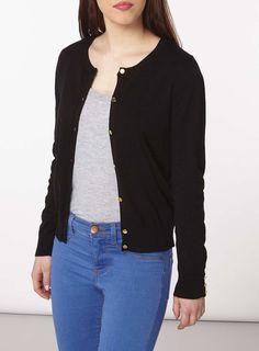 Womens Petite Black Cotton Cardigan- Black