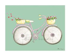8x10 Print - Bedroom Office Kitchen Wall Art Print - Bicycle bike Cruiser basket hearts - Teal mint violet- Emily Burnette - Recipe 4 Cute