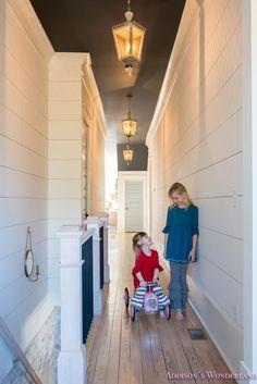 Our 1905 Restoration Home Tour Reveal...    hallway-white-walls-shiplap-black-ceiling-alabaster-inkwell-lantern-chateau-blue-door-stardew-uncertain-grey-whitewashed-hardwood-flooring