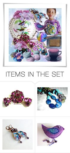 """Purple and Blue"" by riagr ❤ liked on Polyvore featuring art and vintage"