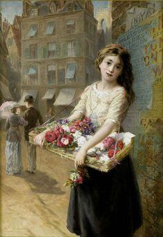 Augustus Edwin Mulready- flowers for sale.