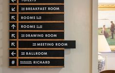 Graphic design signage for wayfinding with identity monochrome signage at the National Trust. Library Signage, Office Signage, Directional Signage, Wayfinding Signs, Church Interior Design, Church Design, Signage Design, Typography Design, Hotel Signage