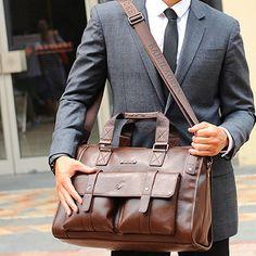 Business Crossbody Compound Cowhide Briefcase Vintage Laptop Bag For Men