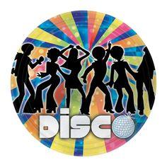 Menaje desechable para la fiesta disco o la fiesta años 70.... De www.fiestafacil.com, $4.95 para 8 / Disposable tableware for your themed party or your dicso party, from www.fiestafacil.com