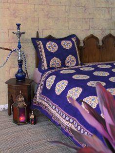 Sultans Palace~Purple Blue Moroccan Medallion Print Queen Duvet