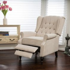 Walter Light Beige Fabric Recliner Club Chair by Christopher Knight Home For Grandma