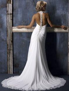 2011 Style Empire Square Court Trains Sleeveless Chiffon Wedding Dress For Brides (SZ004040) love the back