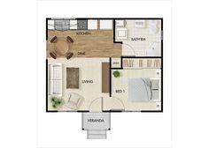 Stylish compact practical granny flat floor plans by QLD based Nova Design Granny Flats Bedroom Floor Plans, House Floor Plans, Apartment Plans, Apartment Design, Cabin Plans, Shed Plans, Granny Flat Plans, Lofts, Bungalow